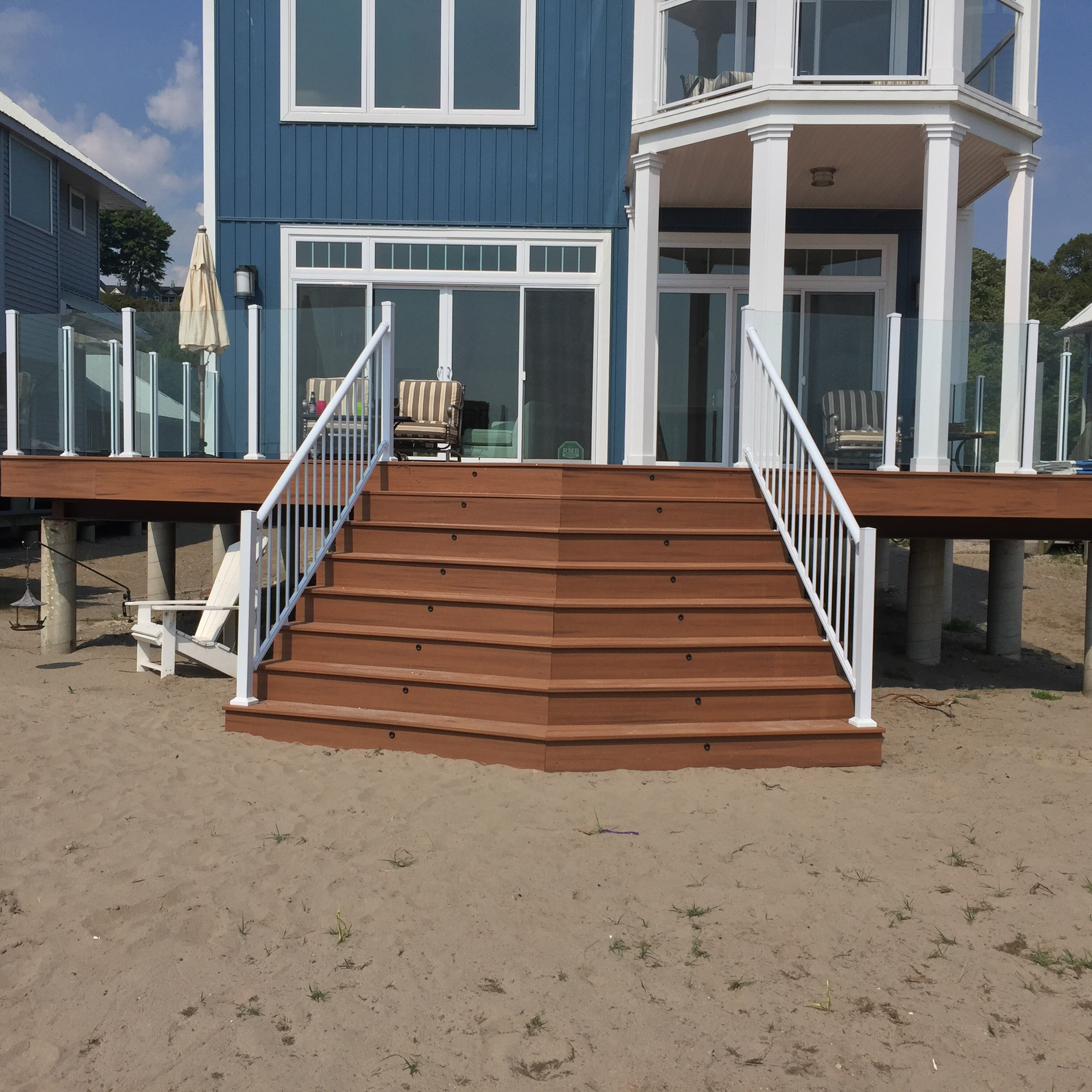 custom deck on the beach